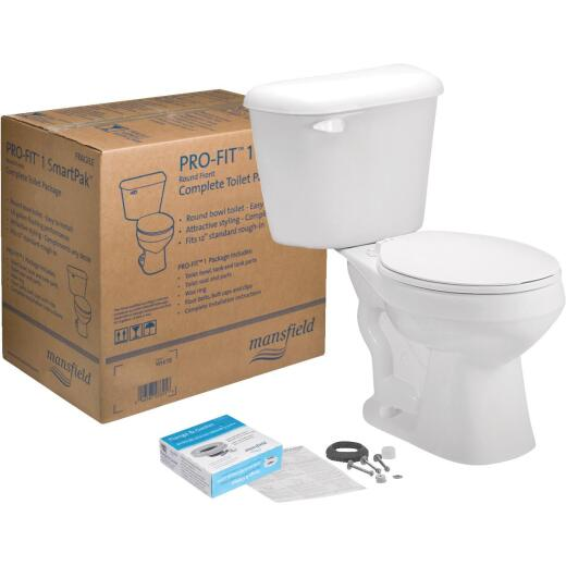 Mansfield Pro-Fit 1-128 HET Biscuit Round Bowl 1.28 GPF Complete Toilet