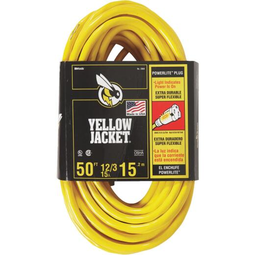Yellow Jacket 50 Ft. 12/3 Heavy-Duty Extension Cord w/Lighted End