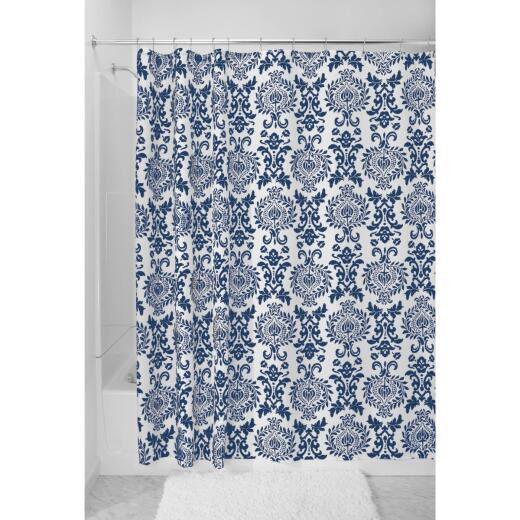 InterDesign York 72 In. x 72 In. Navy Damask 100% Polyester Graphic Fabric Shower Curtain