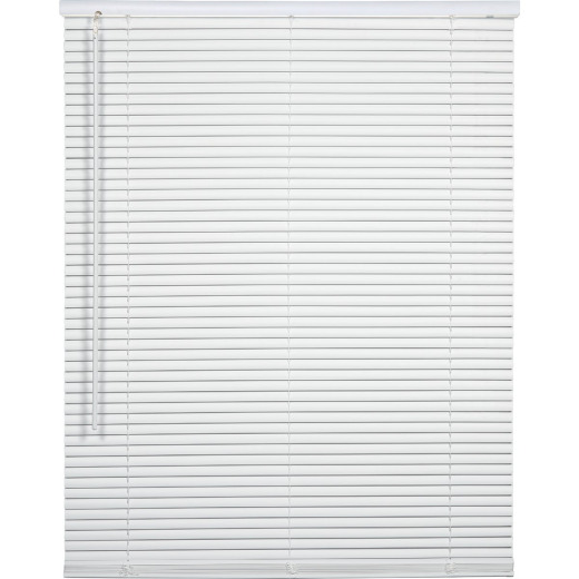 Home Impressions 27 In. x 64 In. x 1 In. White Vinyl Light Filtering Cordless Mini Blind