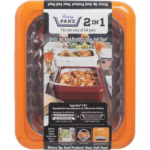 Fancy Panz 9.38 In. W. x 11.75 In. L. Orange 2-In-1 Foil Pan Baking Carrier