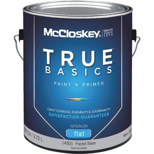 McCloskey True Basics Latex Paint & Primer Flat Interior Wall Paint, Pastel Base, 1 Gal.