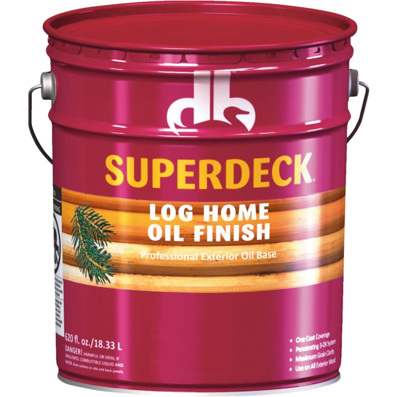 Duckback SUPERDECK VOC Translucent Log Home Oil Finish, Amber Hue, 5 Gal. Image 1