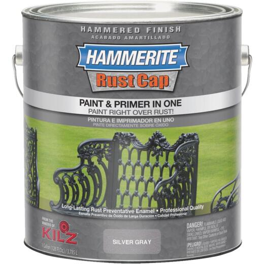 Hammerite Rust Cap Paint & Primer In One Hammered Finish, Silver Gray, 1 Gal.