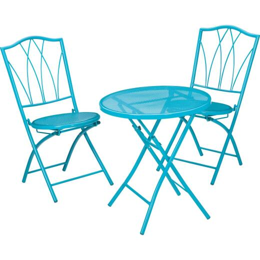 Outdoor Expressions Cruiser 3-Piece Folding Turquoise Bistro Set